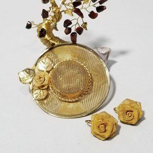 Gold Tone Large Straw Hat Brooch Earring Set